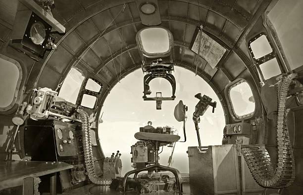 Old bomber cockpit stock photo