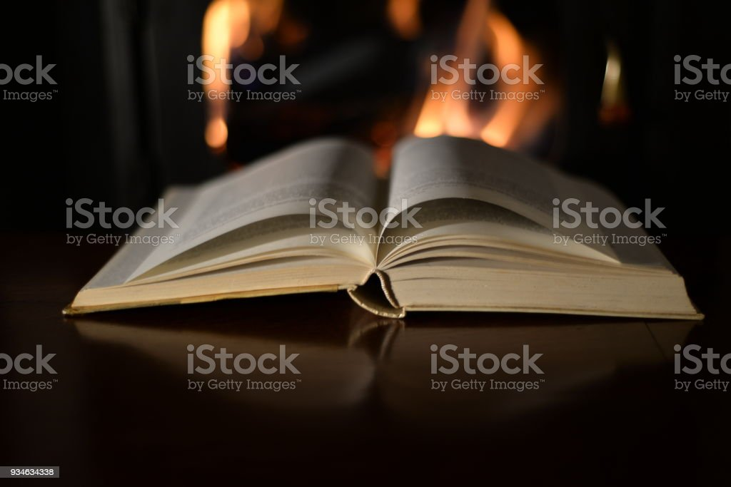 Old Book And Fireplace stock photo