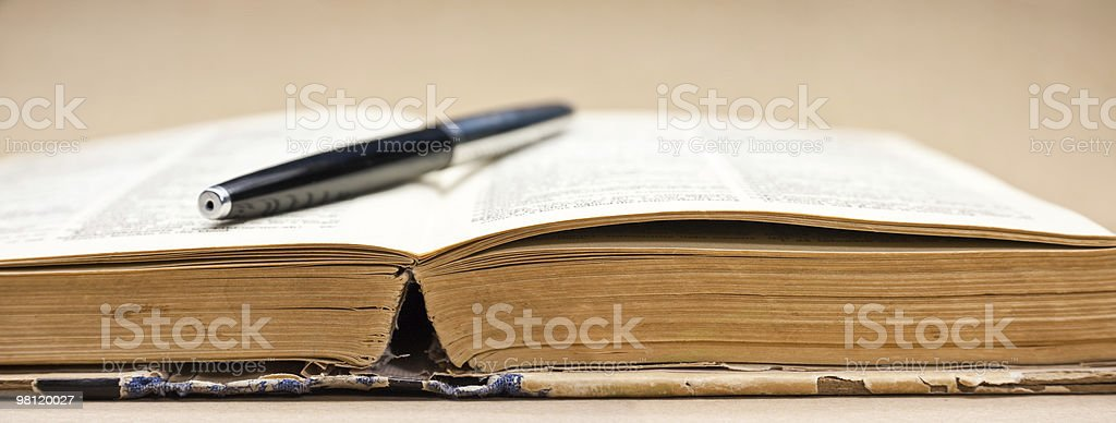 Old book and fountain pen. XXL royalty-free stock photo