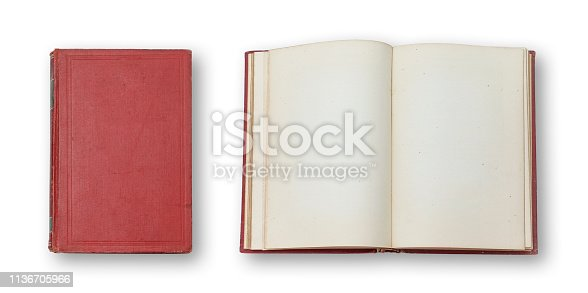 istock Old book cover and book blank pages 1136705966