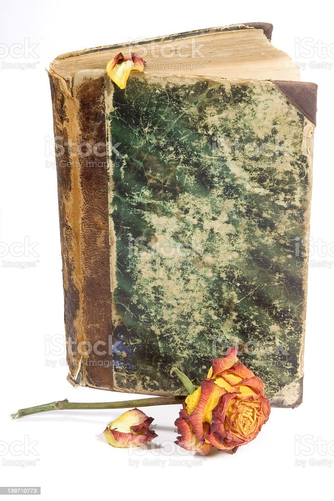 old book cover & rose royalty-free stock photo