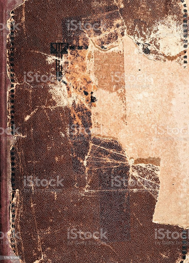 Old book cover texture, brown leather and paper stock photo
