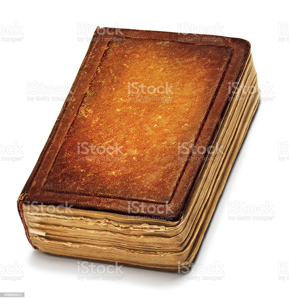 Old Book Cover, Vintage Leather Books Front Texture, White Isolated stock photo