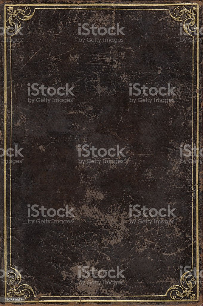 Old book cover with brown leather surface stock photo