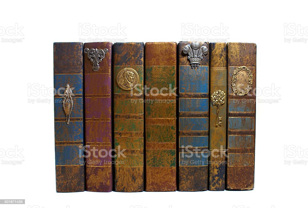 Old book horizontally stacked royalty-free stock photo