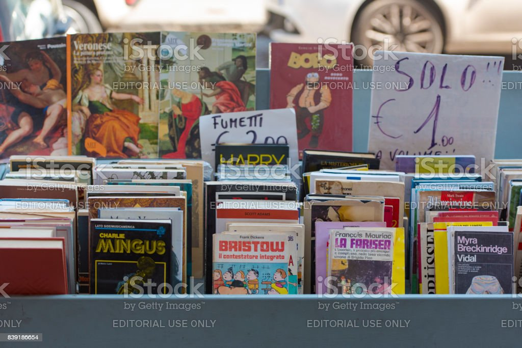 Old book market in the street in Naples stock photo