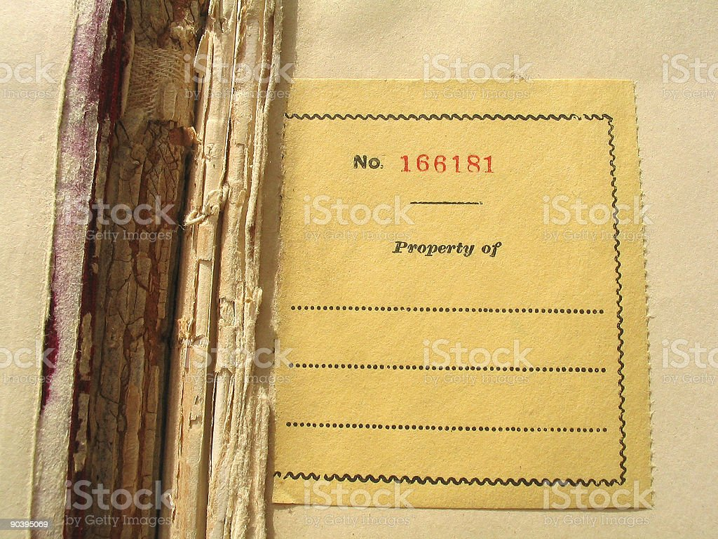Old Book Nameplate stock photo