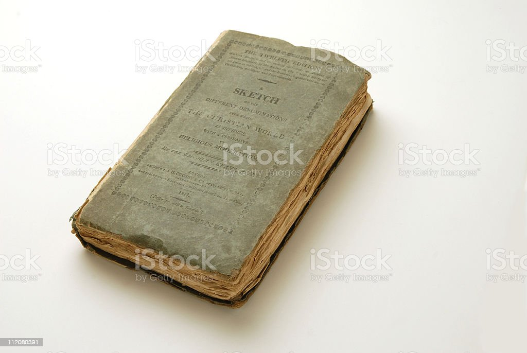 Old Book of Christian religions-cir.1811 stock photo