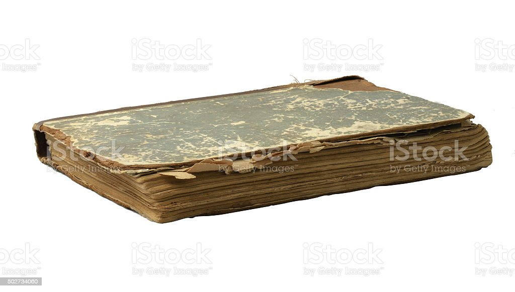 old book on a white background stock photo