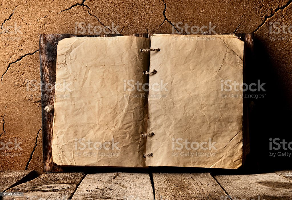 Old book on table stock photo