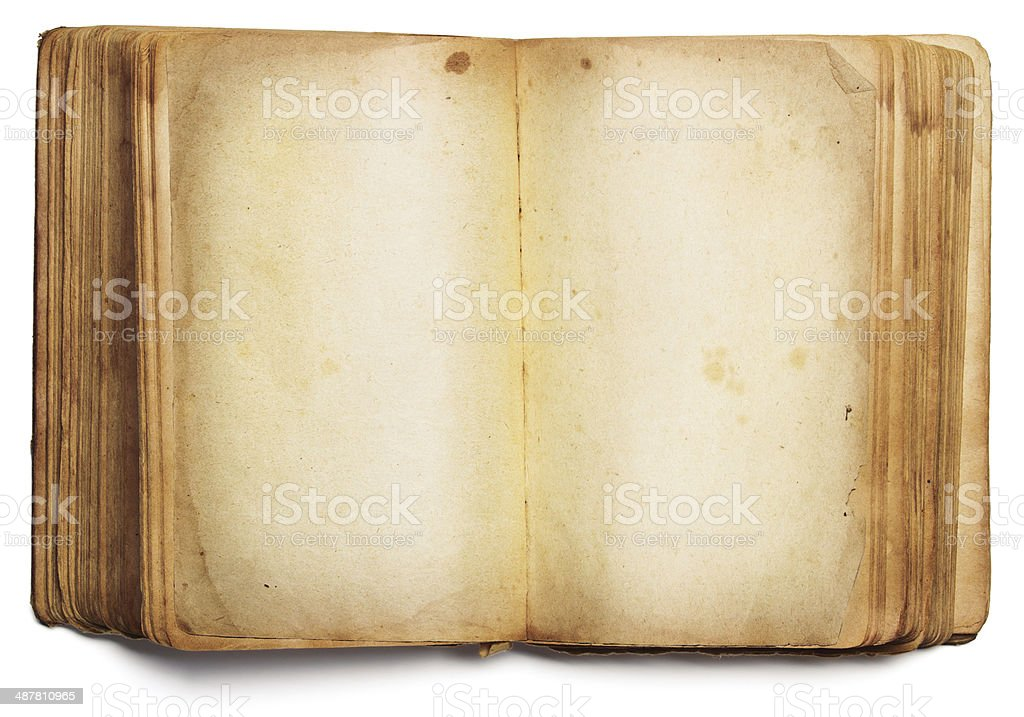 old book open blank pages, empty yellow paper, white background stock photo