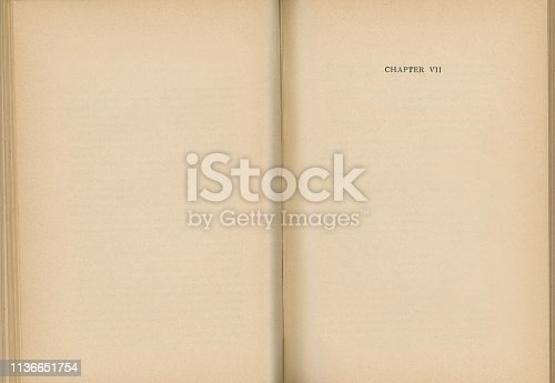 istock Old Book Open to Chapter VII 1136651754