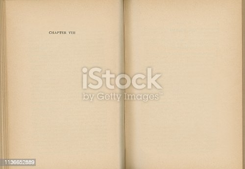istock Old Book Open to Chapter VIII 1136652889