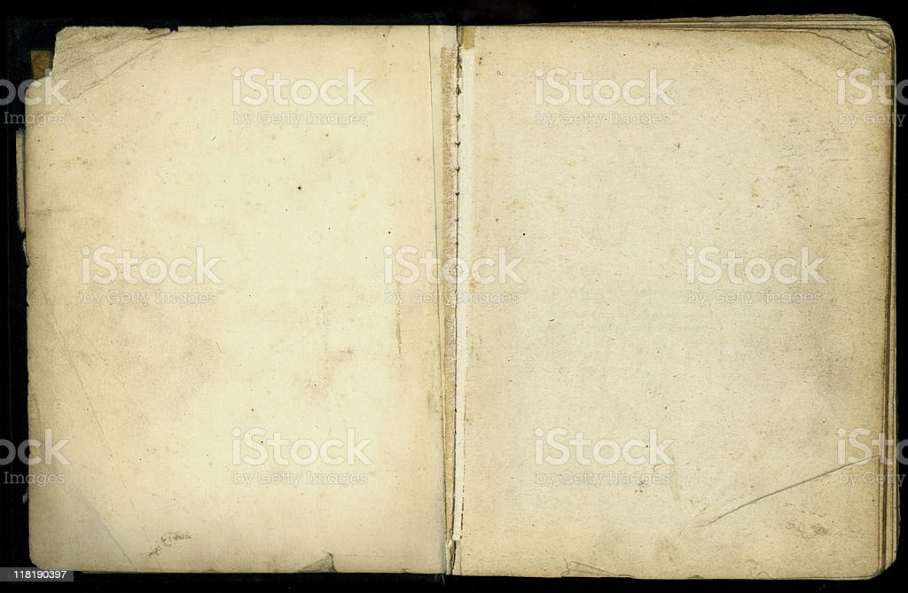 Old book opened with aged and dog eared pages royalty-free stock photo