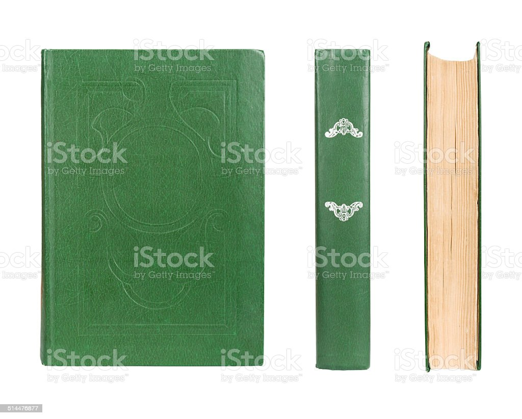 old book set isolated on white stock photo