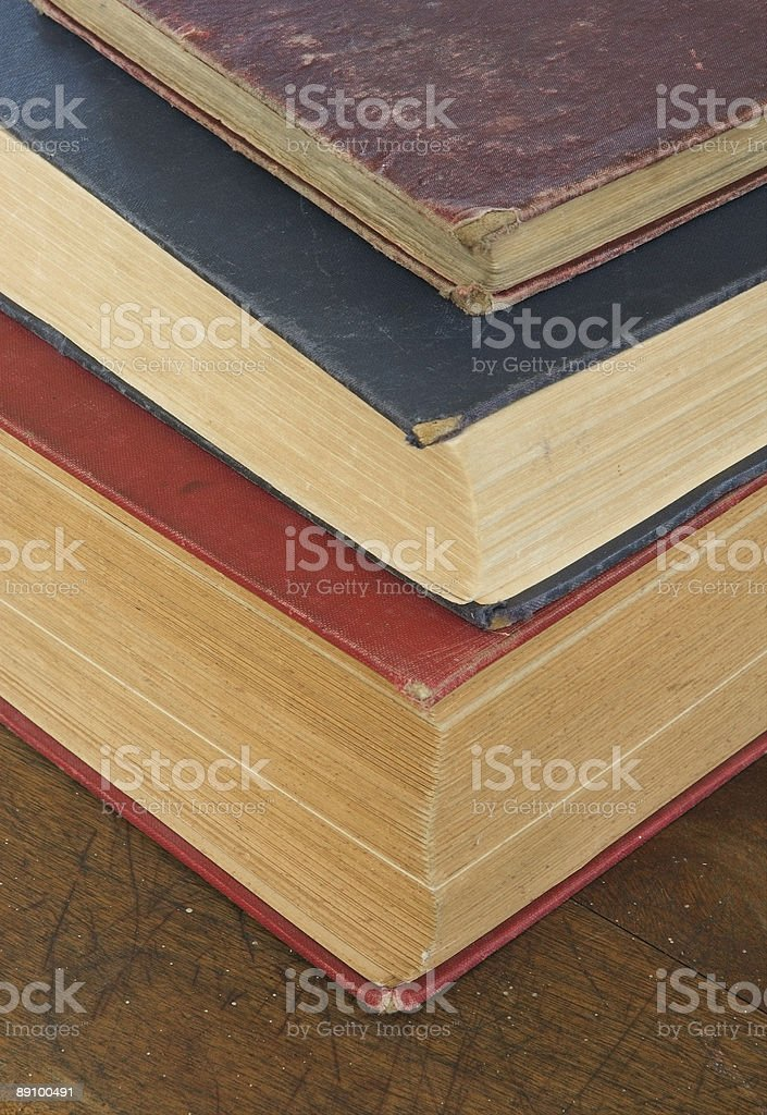 Old Book Stack on Schooldesk royalty-free stock photo
