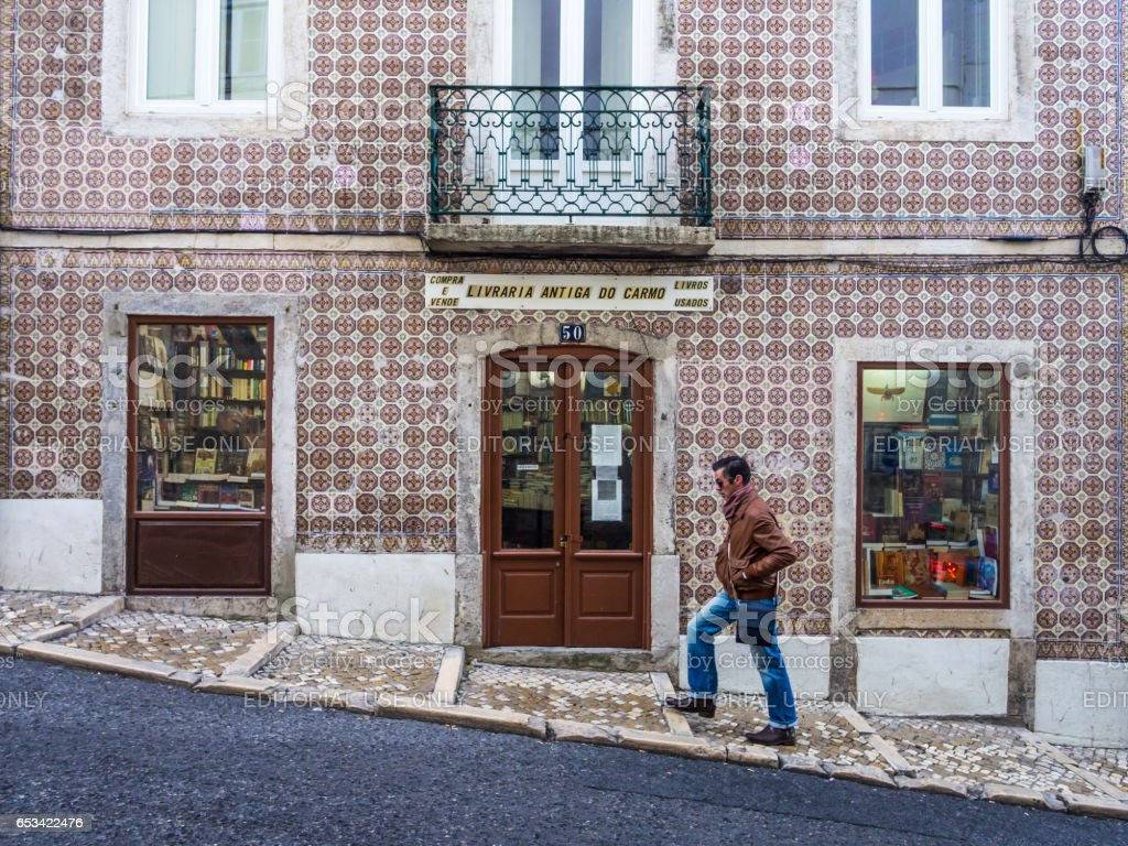 Old book store in the Old Town of Lisbon stock photo