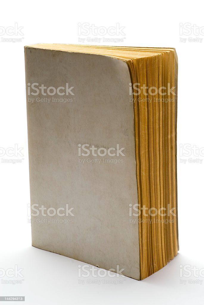 Old book with a blank cover and a white background royalty-free stock photo