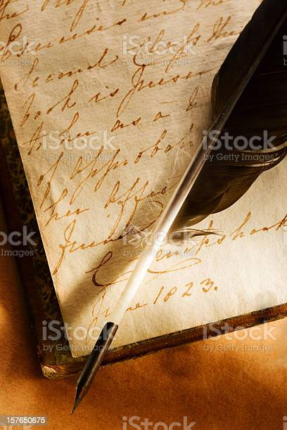 Old Book With Feather Pen Stock Photo - Download Image Now