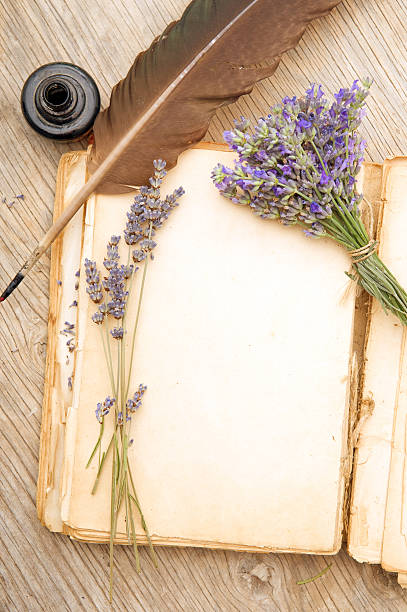 Old book with lavender flowers stock photo
