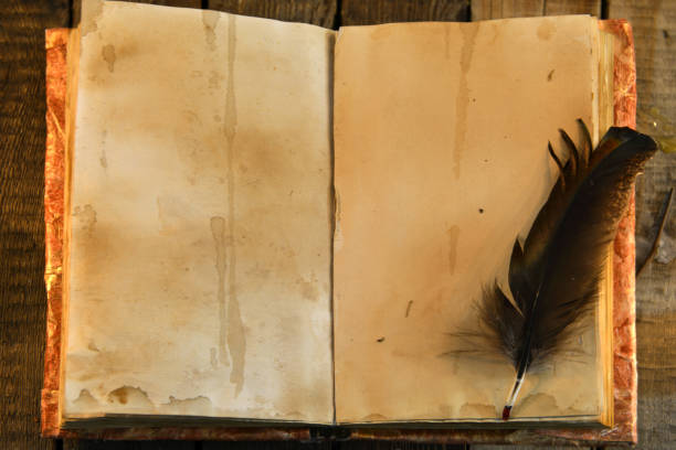 Old book with shabby pages and black quill, top view. stock photo