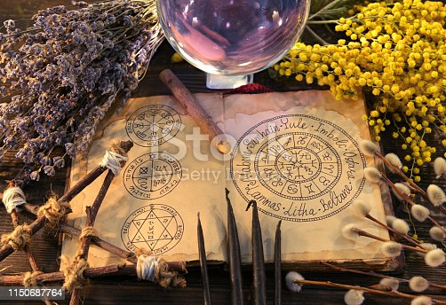 811119304 istock photo Old book with wiccan holidays chart, pentagram, crystal ball and herbs. 1150687764