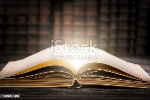 istock Old book wooden library desk concept. 843652986