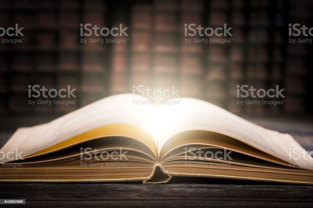 Old book wooden library desk concept. stock photo