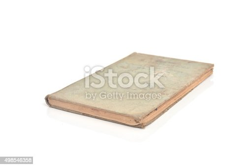 istock old book-cover isolated on white. 498546358