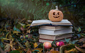 Colorful autumn scenery. Ripe Halloween carved pumpkin and a stack of old books on the background of fallen autumn yellow leaves in the garden