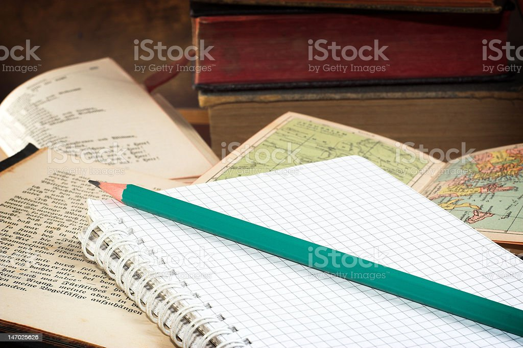 old books and notebook stock photo