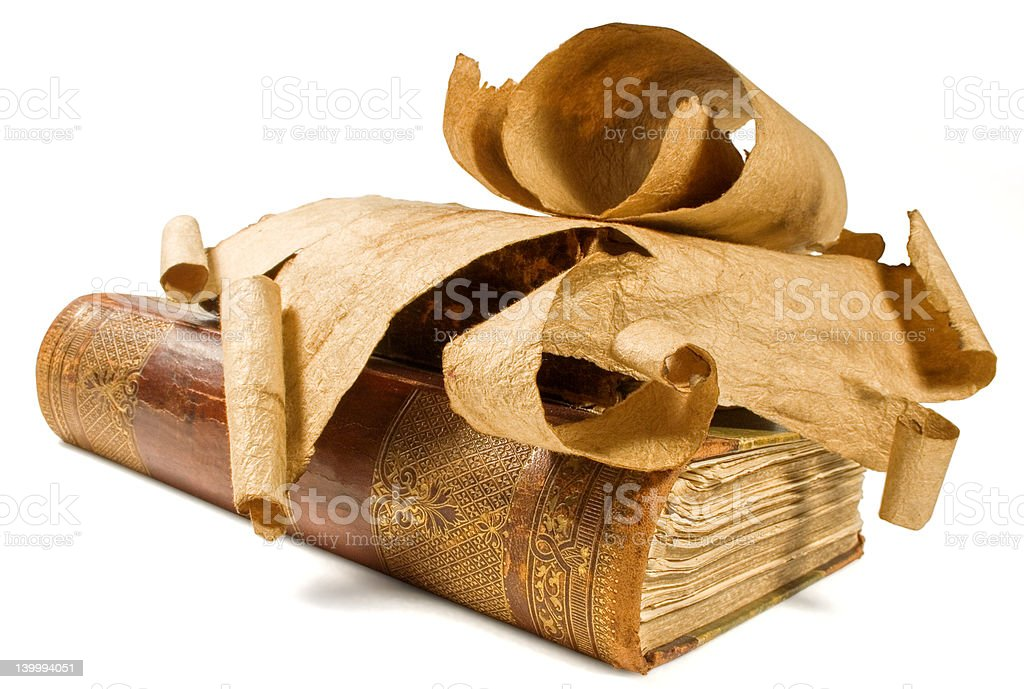 old books and paper scroll royalty-free stock photo