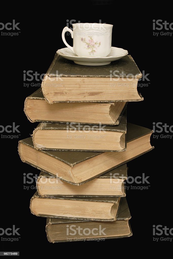 Old Books and Tea royalty-free stock photo