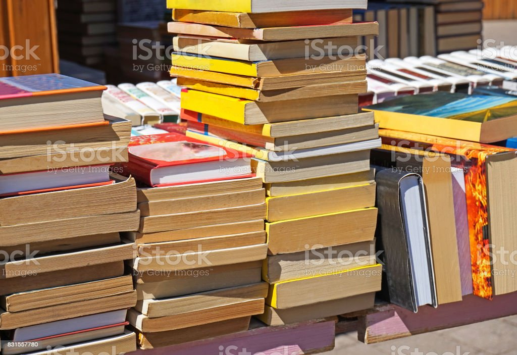 Old books for sale outdoor stock photo