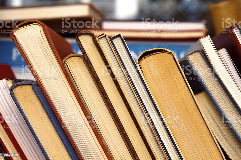 Old books for sale stock photo