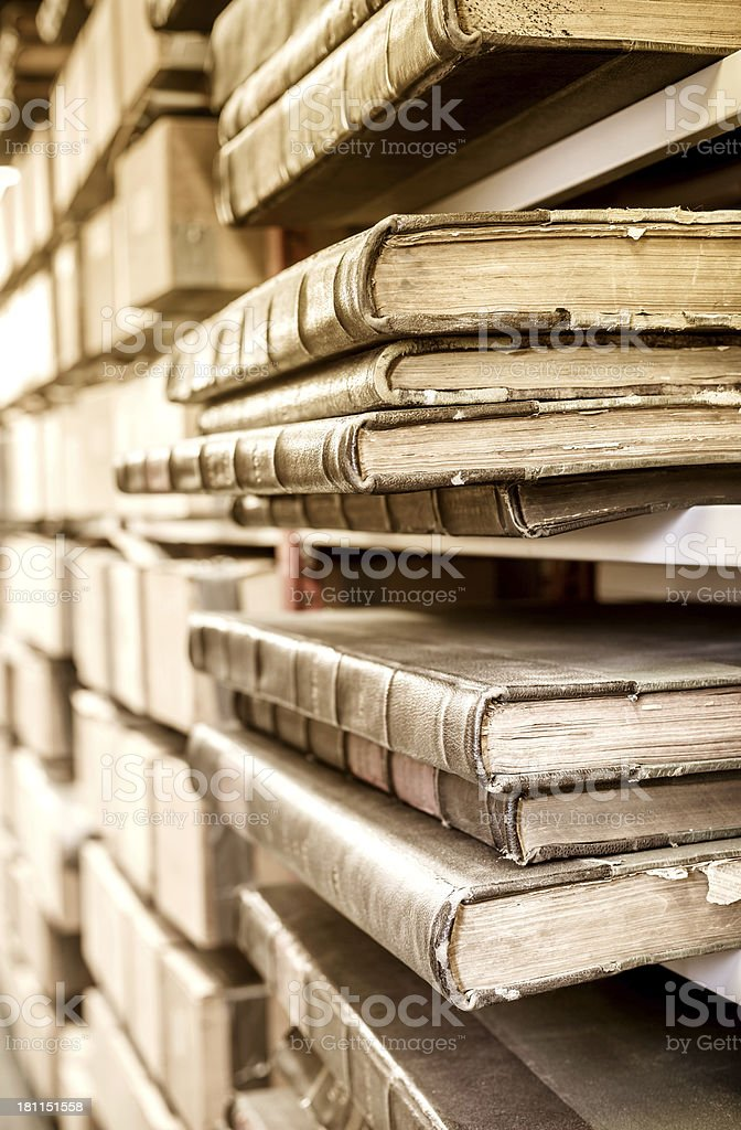 Old Books in an Archive royalty-free stock photo