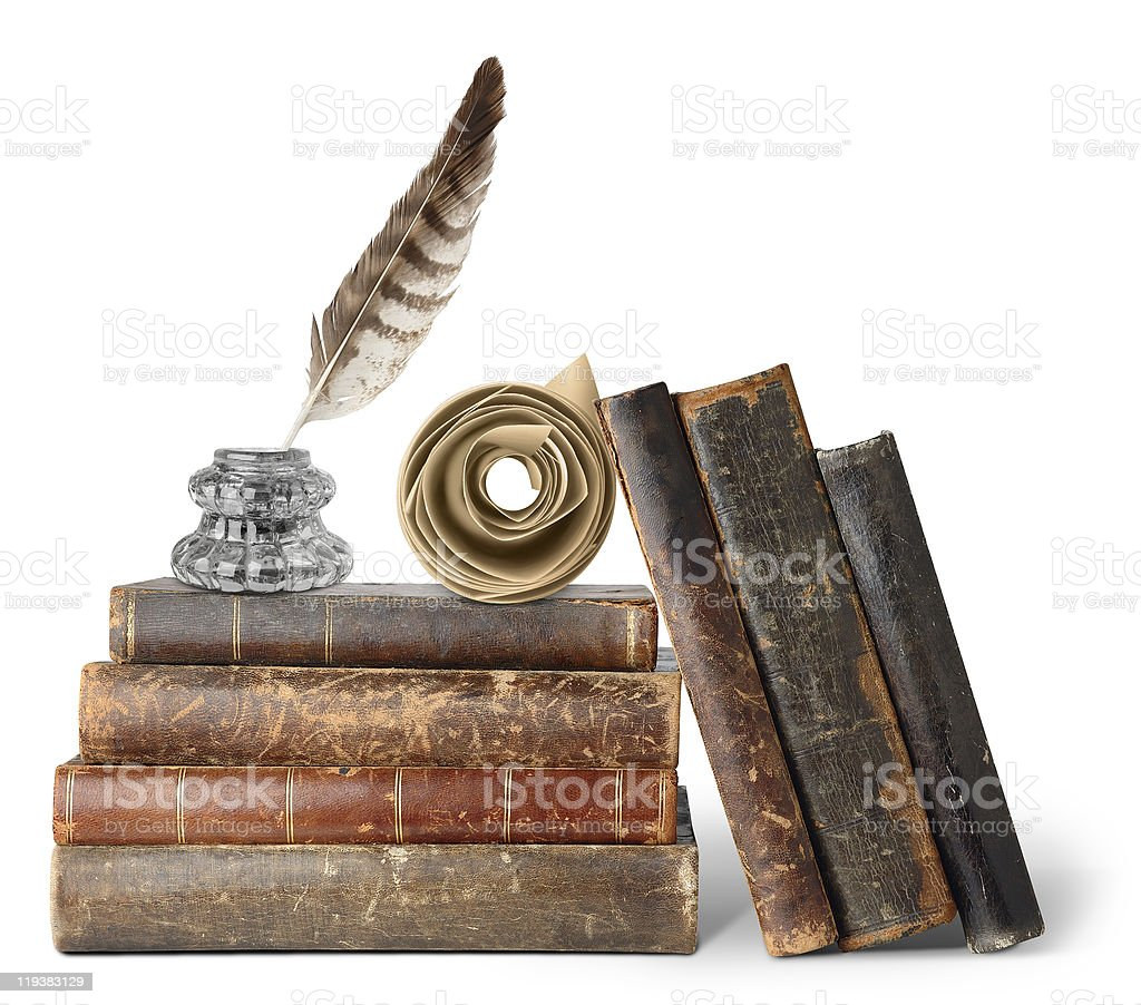 Old books, inkstand and scroll stock photo