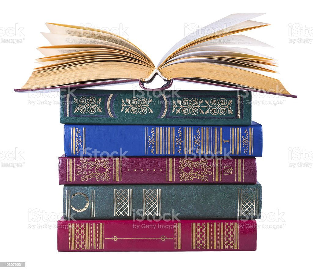 Old books isolated on white background royalty-free stock photo