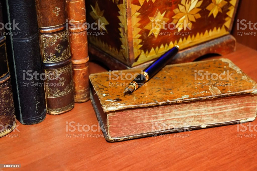 Old Books Jewelry Box And A Pen Stock Photo More Pictures of Book