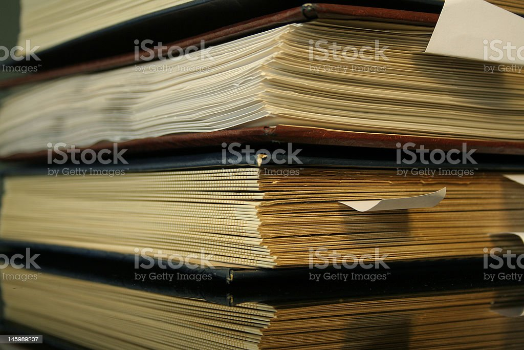 old books office stack stock photo