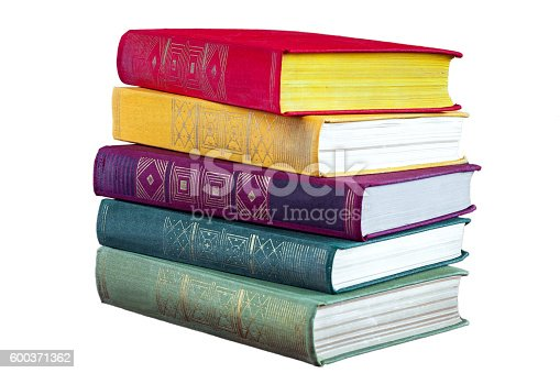 istock old books on a white background. 600371362