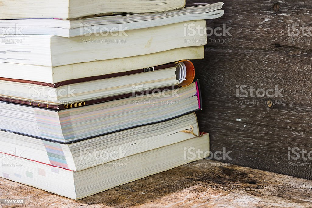 Old Books On A Wooden Shelf No Labels Blank Spine Royalty Free