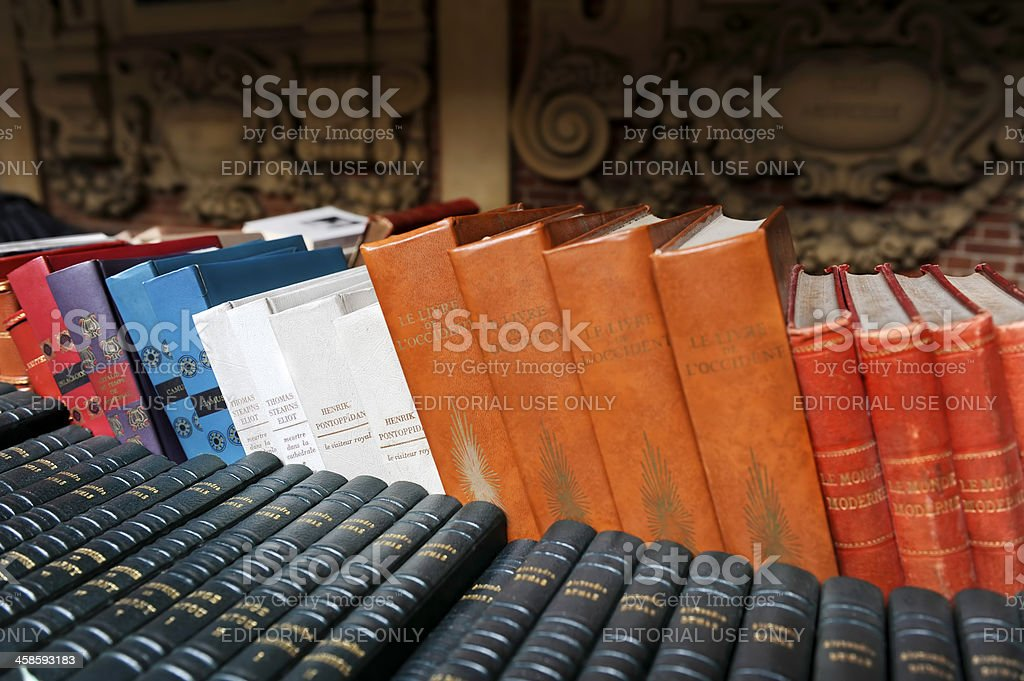 Old books on second hand book market. royalty-free stock photo