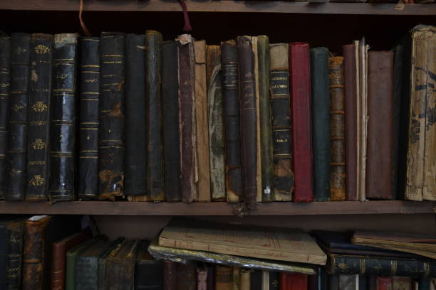 Old books on the shelf of antiquarian stock photo