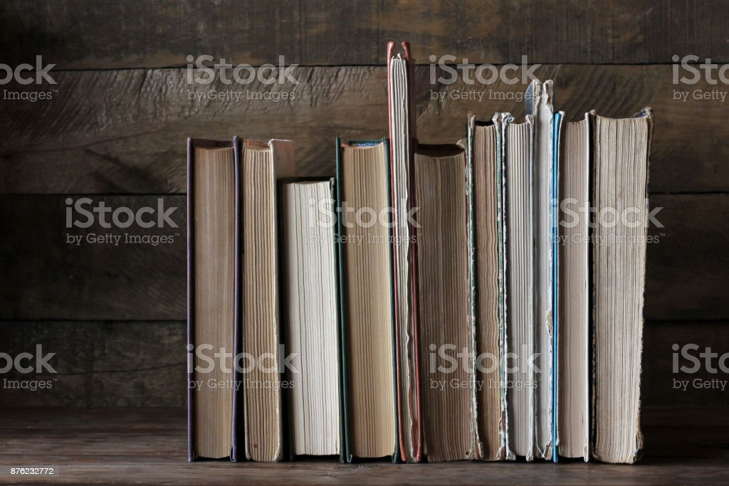 Old books on the table. Library, science, knowledge. stock photo