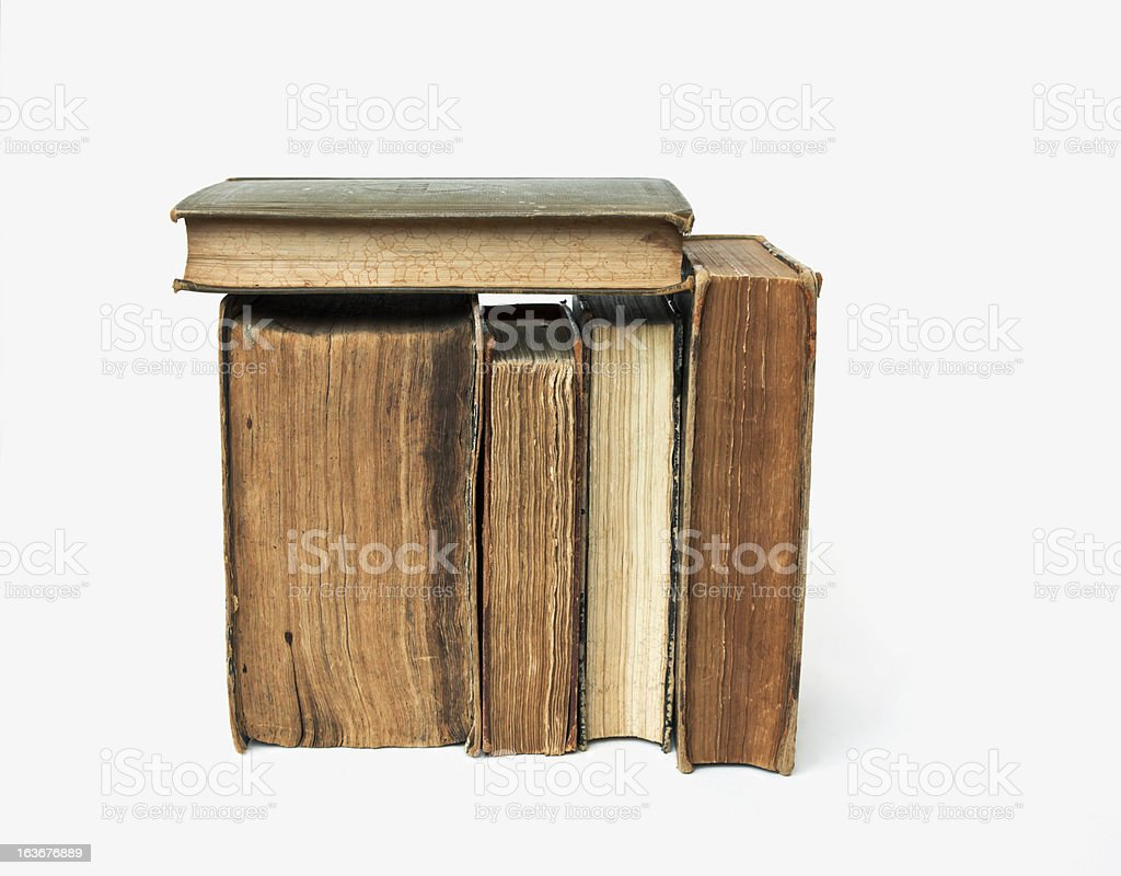 Old books on white background. royalty-free stock photo