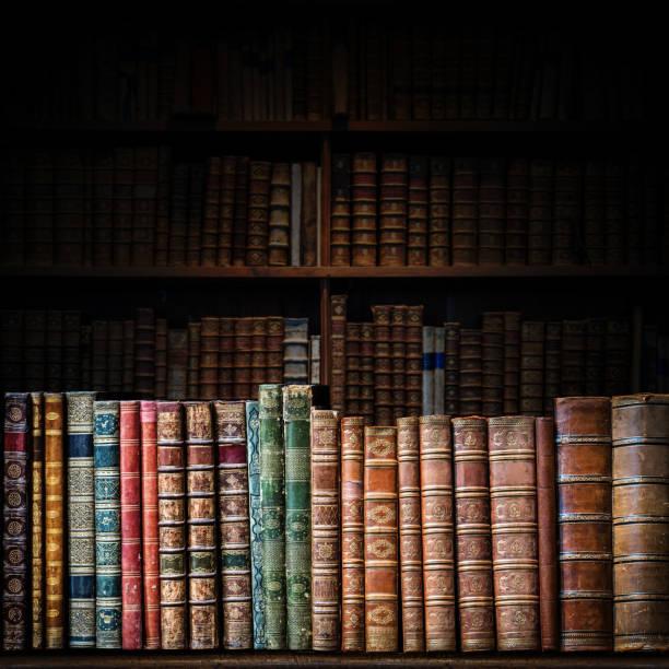 Velhos livros na prateleira de madeira. - foto de acervo