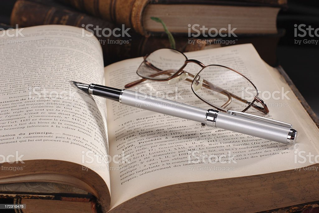 Old Books, Pen and Glasses royalty-free stock photo