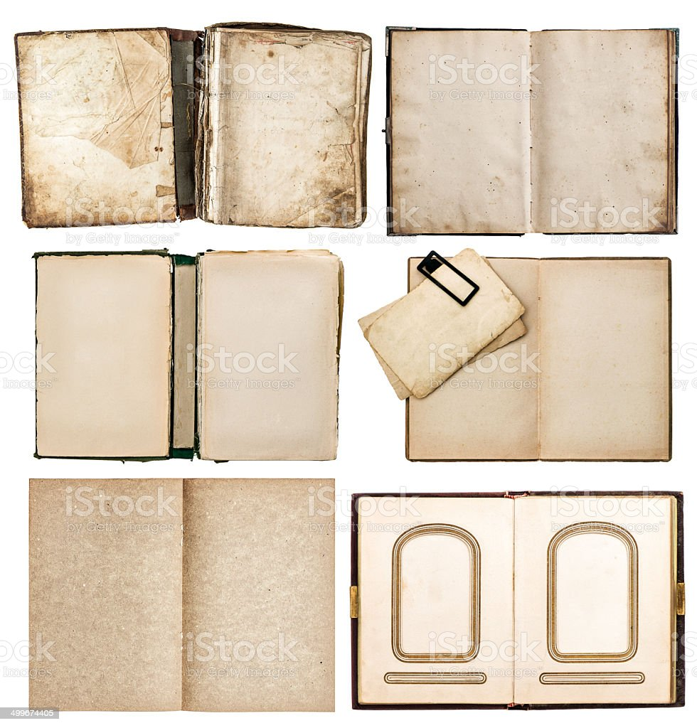 old books set with aged paper pages stock photo