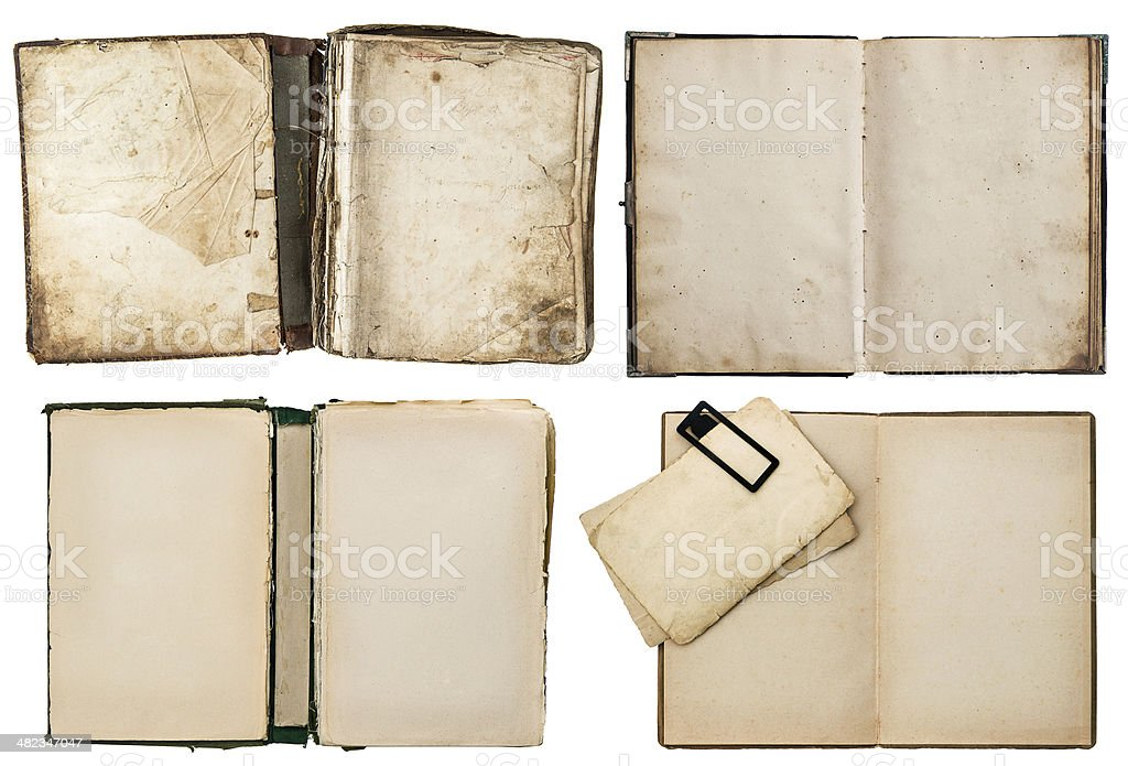 old books set with grungy pages royalty-free stock photo